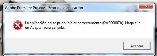 error 0xc00007b ventana emergente