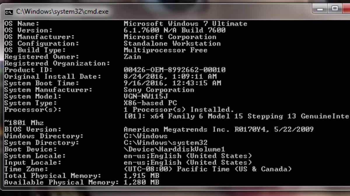 como saber el modelo de mi laptop cmd systeminfo