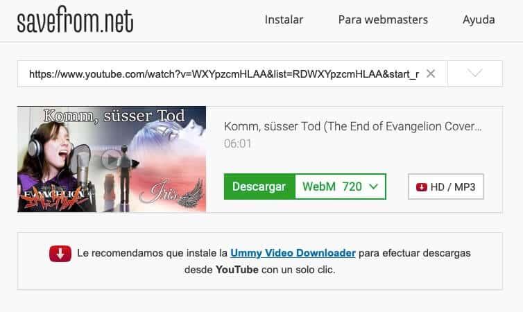 descargar videos de youtube gratis sin instalar programas - savefromnet