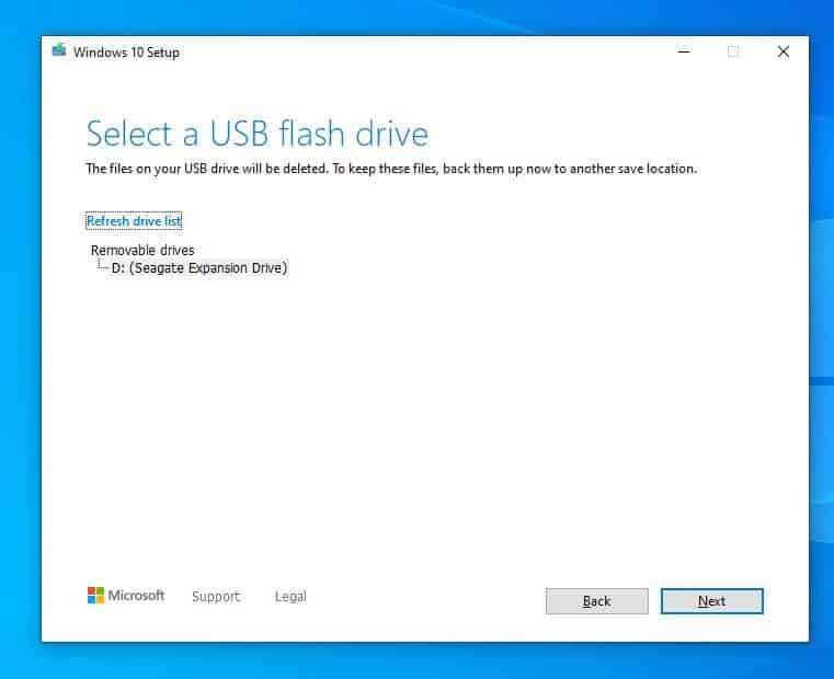 instalar windows 10 desde usb - seleccionar USB