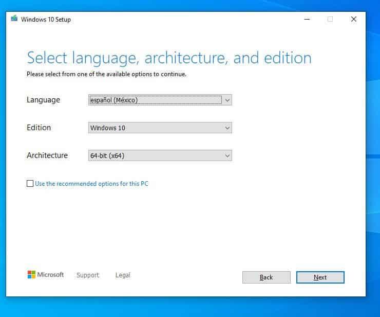 instalar windows 10 desde usb - seleccionar idioma