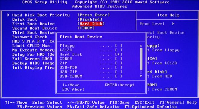instalar windows 10 desde usb - vieja BIOS seleccion inicio