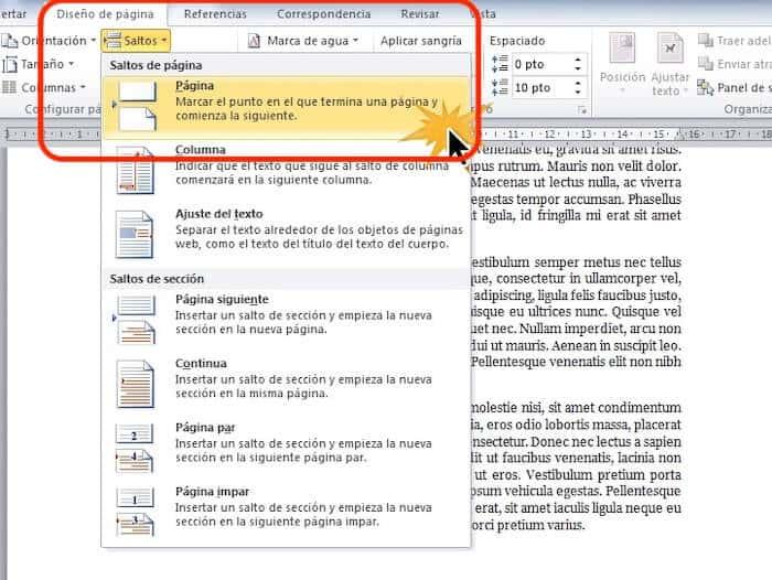salto de pagina en word 2010