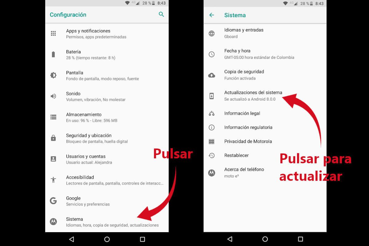 Actualizar Android - Acceder a Sistema y actualización