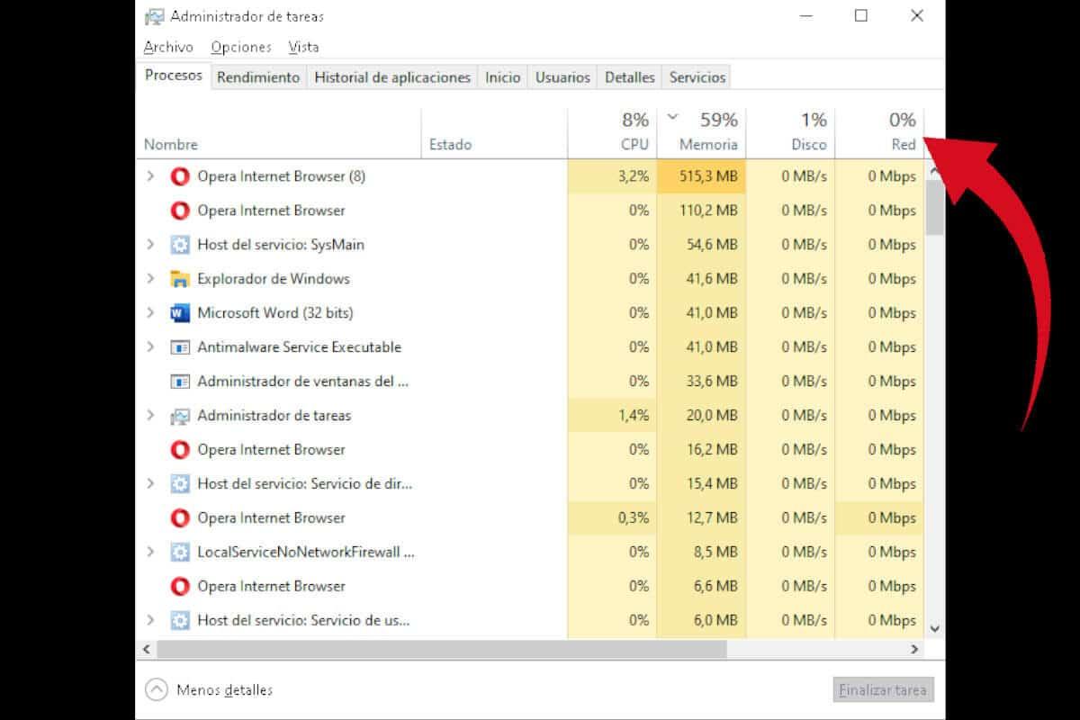 Cómo saber cuántos megas tengo - Administrador de tareas