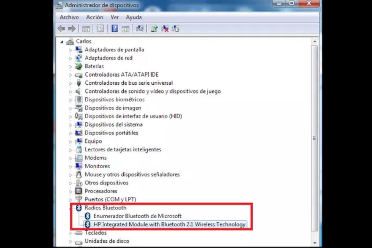 Cómo saber si mi laptop tiene bluetooth - Administrador de dispositivos