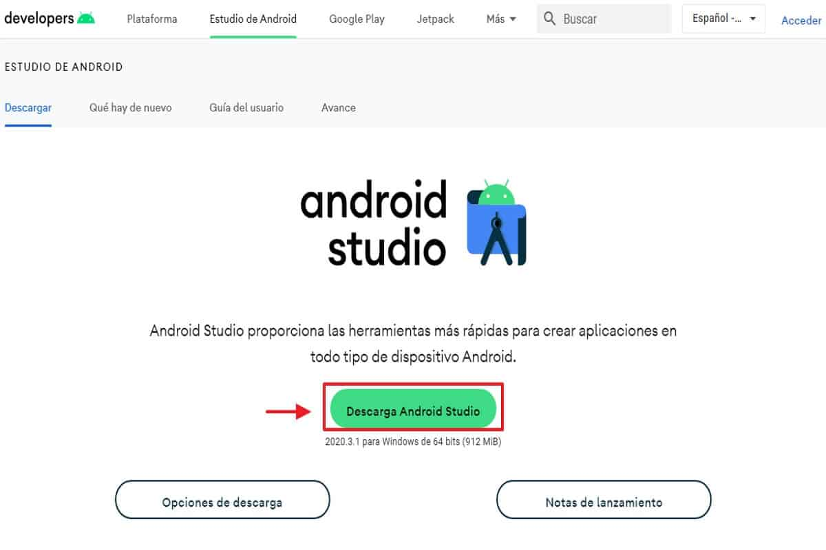 Cómo instalar Android Studio - Instalar Android Studio para Windows - paso 1