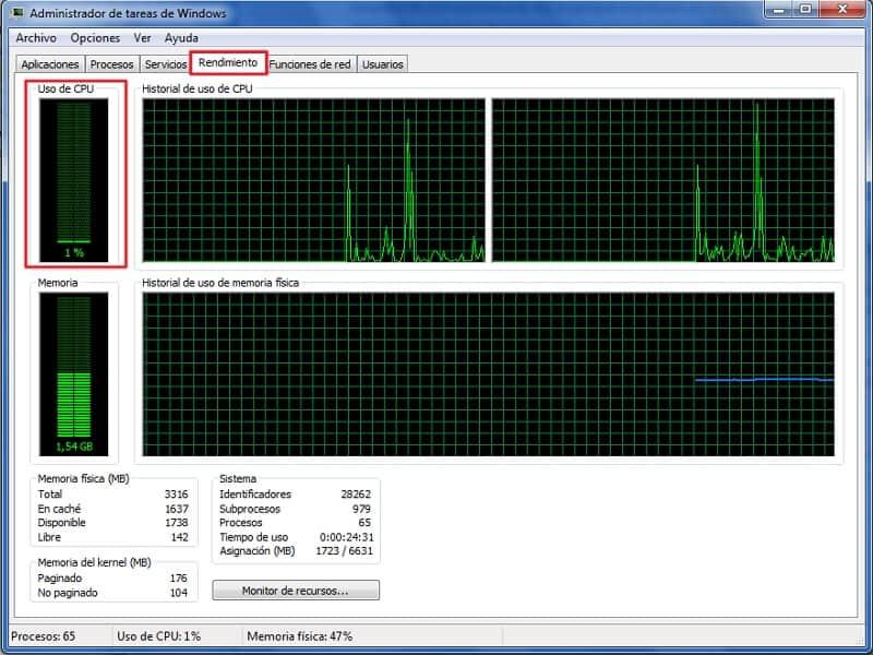 Cómo saber cuántos núcleos tiene mi PC - A través del administrador de tareas