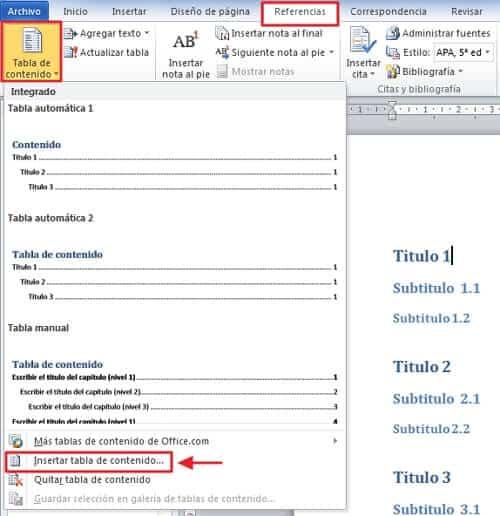 Cómo hacer un índice en Word -  Pasos para hacer un índice en Word de manera automática- paso número 1- paso 2