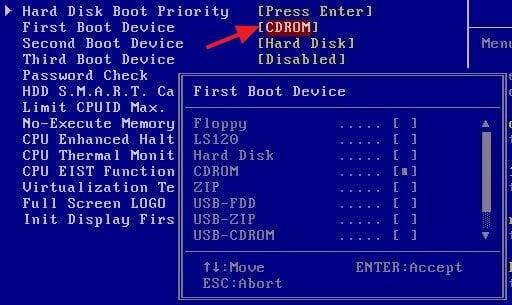 Cómo formatear un disco duro -Formatear disco duro a través de la BIOS Windows 10 - paso 4