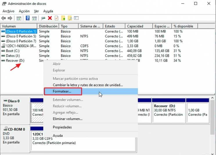 Cómo formatear un disco duro -Formatear disco duro directamente desde Windows 10 - paso 3